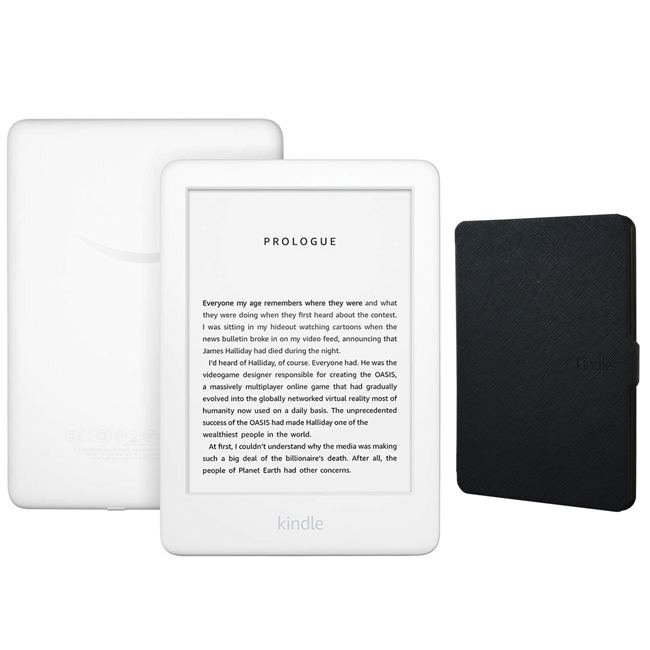 Amazon Kindle Touchscreen Wi-Fi With Built-in Front Light 10th Gen (With Ads) White Bundle