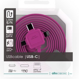 Allocacoc 3-In-1 USB Charge Sync Cable Pink.jpg
