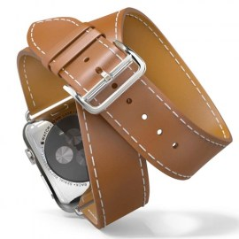 Tek88 Hermes Leather Double Band For 38mm Apple Watch Brown_1.jpg